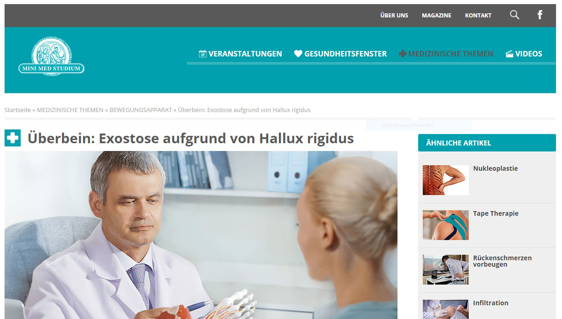 """""""Überbein: Exostose aufgrund von Hallux rigidus"""" (minimed.at, Juni 2019)"""