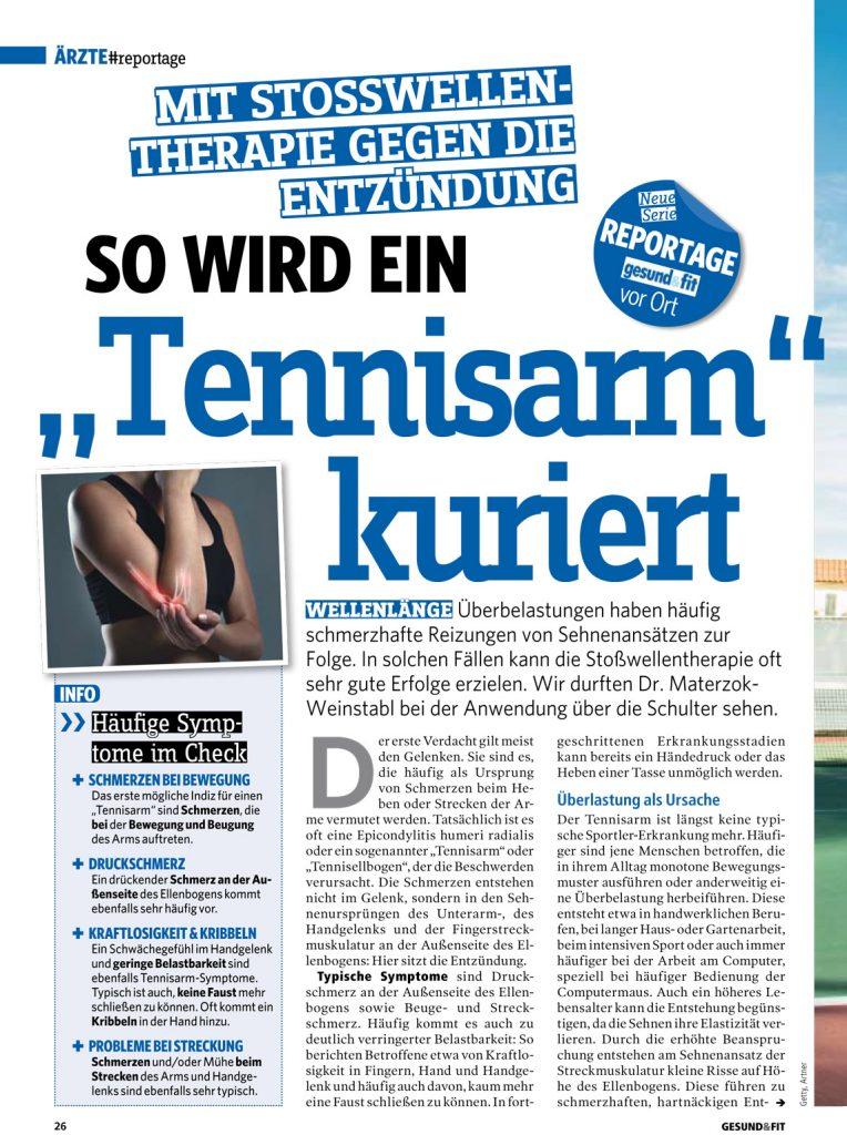 """""""So wird ein Tennisarm kuriert"""" (Gesund & Fit Beilage, Juni 2019)"""