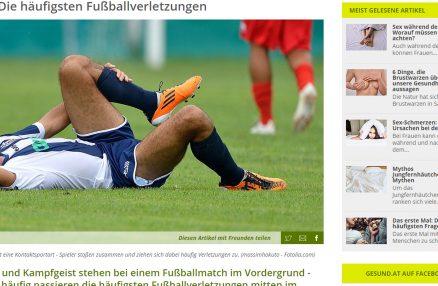 """""""Die häufigsten Fußballverletzungen"""" (gesund.at, Juni 2014)"""